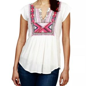 Lucky Brand Women's Embroidered Bib Tank XL